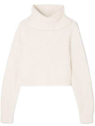 3.1 Phillip Lim Cropped Ribbed Wool-blend Turtleneck Sweater - White