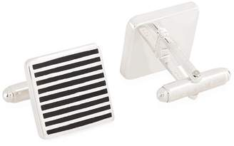 Carrs of Sheffield Silver Striped Square Enamelled Sterling Silver Cufflinks