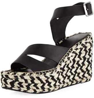 Sigerson Morrison Arien Asymmetric Leather Wedge Sandal