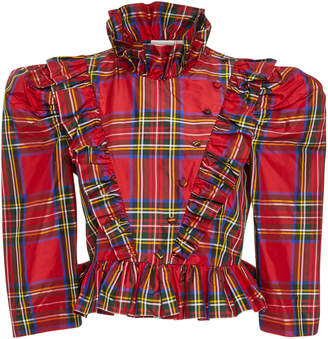 Isa Arfen Edith Ruffled Tartan Poplin Top