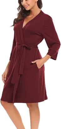+Hotel by K-bros&Co Bluetime Women Robe Soft Kimono Robes Cotton Bathrobe Sleepwear Loungewear Short (S, )