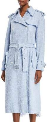 Michael Kors Button-Front Tweed Trench Coat
