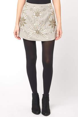 Free People Bright Lights Embroidered Velvet Mini Skirt
