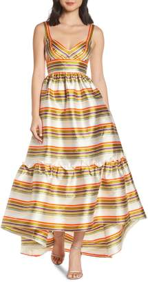 Jill Stuart Stripe High Low Ruffle Hem Gown