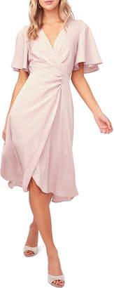 ASTR the Label Delaney Faux Wrap Flutter Sleeve Dress