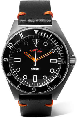 Bamford Watch Department Mayfair Brushed Stainless Steel And Leather Watch
