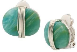 Robert Lee Morris Wire Wrapped Green Stone Clip On Stud Earrings