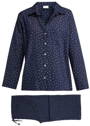 Pour Les Femmes - Star Print Cotton Pyjama Set - Womens - Navy Print