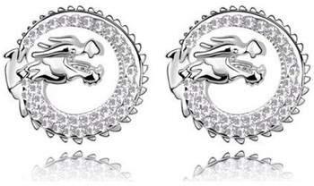 Blue Pearls Ohrringe Ohrringe Drache-Kristall Swarovski Element Weiß und Rhodium über