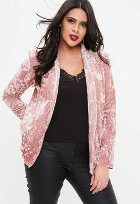 Missguided Curve Pink Velvet Padded Shoulder Blazer