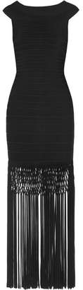 Herve Leger Off-the-shoulder Fringed Bandage Gown - Black
