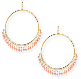 Ashley Pittman Mnara Bronze Hoop Earrings w/ Coral Dangles