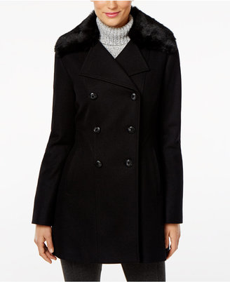 INC International Concepts Faux-Fur-Collar Peacoat, Only at Macy's $245 thestylecure.com