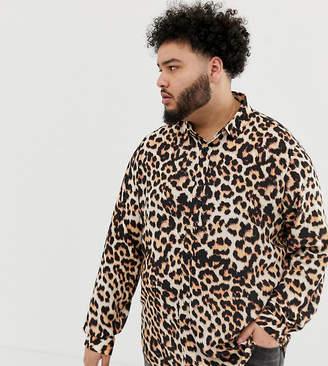 Asos Design DESIGN Plus regular fit leopard print shirt