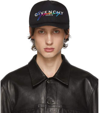 Givenchy Black Embroidered Rainbow Logo Cap