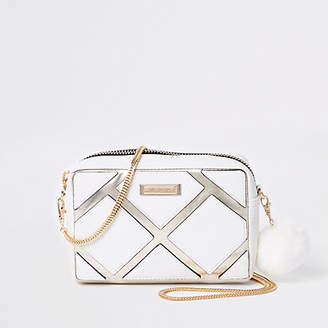 River Island Womens White cutabout metallic boxy cross body bag