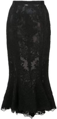 Marchesa lace fishtail skirt