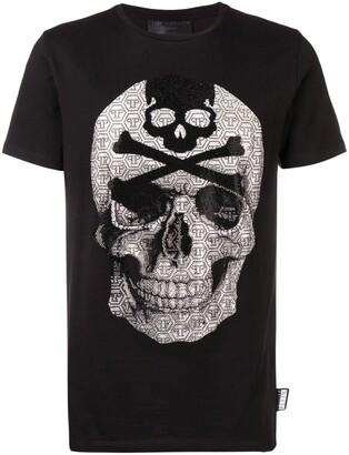 Philipp Plein rhinestone-embellished skull T-shirt