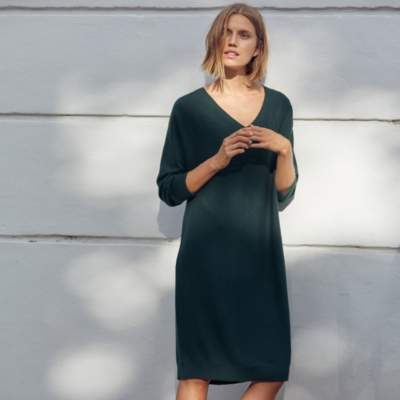 Wool-Cotton Batwing Knitted Dress