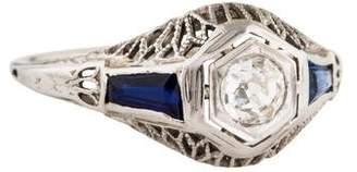 Ring 18K Art Deco Diamond & Synthetic Sapphire