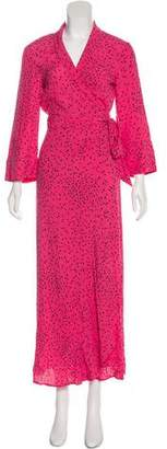 Ganni Printed Maxi Wrap Dress