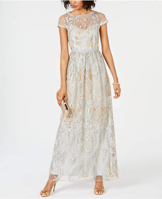 Adrianna Papell Embroidered Illusion Gown