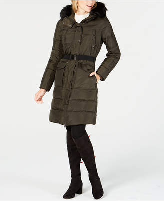 Michael Kors Faux-Fur-Trim Hooded Belted Puffer Coat