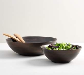 Pottery Barn Ebony Wood Salad Bowls