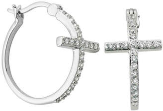 Silver Cross FINE JEWELRY DiamonArt Cubic Zirconia Sterling Hoop Earrings
