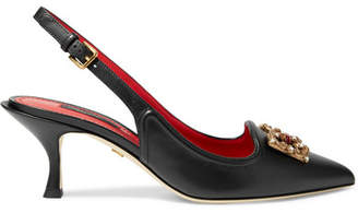 Dolce & Gabbana Logo-embellished Leather Slingback Pumps - Black