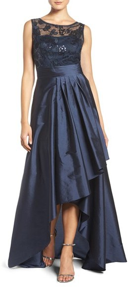 Adrianna Papell Women's Adrianna Papell Sequin Lace & Taffeta Ballgown