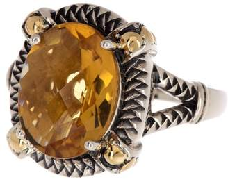Effy Sterling Silver & 18K Gold Woven & Dot Detailed Oval Citrine Ring - Size 7