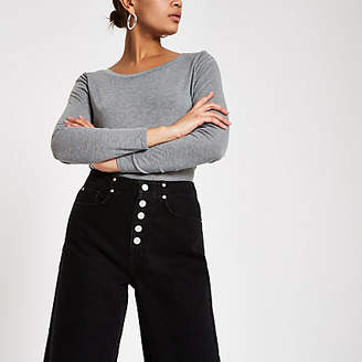 River Island Black Alexa denim frayed hem culottes