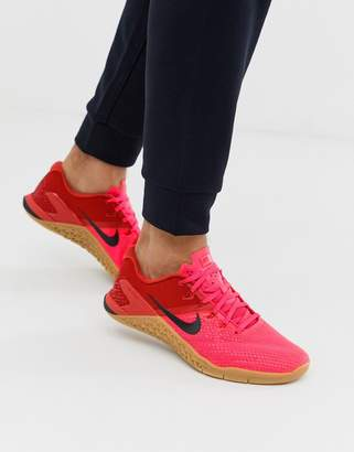 Nike Training Metcon 4 sneakers in red