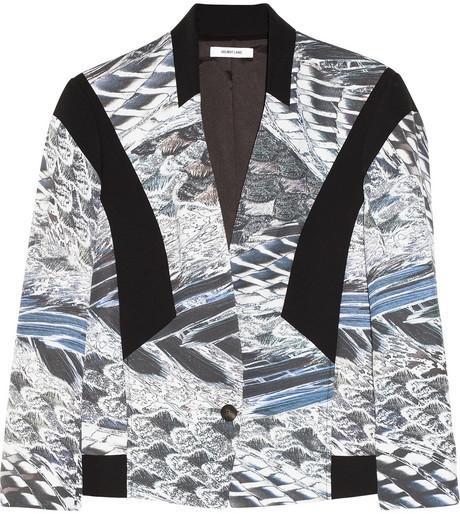 Helmut Lang Paneled printed crepe blazer