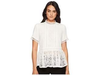 Catherine Malandrino Francine Short Sleeve High Neck Lace Inset Blouse Women's Clothing