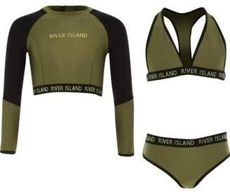 River Island Girls khaki three piece bikini set