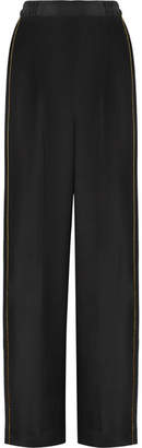 Stella McCartney Metallic-trimmed Silk Crepe De Chine Wide-leg Pants - Black