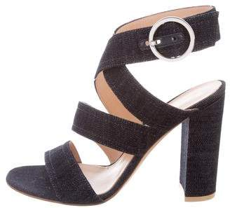 Gianvito Rossi Denim Ankle Strap Sandals