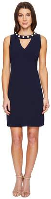 Christin Michaels Gisela Sleeveless Keyhole Dress with Pearl Detail Women's Dress