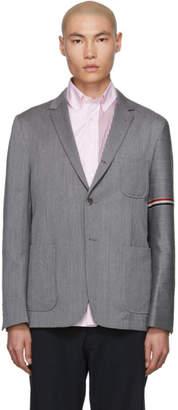 Thom Browne Grey Unconstructed Engineered Stripe Blazer
