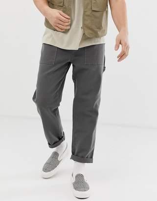 Design DESIGN carpenter utility trousers in heavyweight grey canvas
