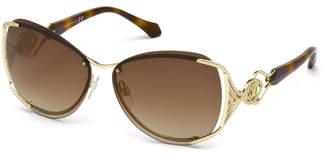 Roberto Cavalli Semi-Rimless Square Mirrored Sunglasses