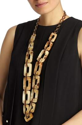 Lafayette 148 New York Wood Square Link Necklace
