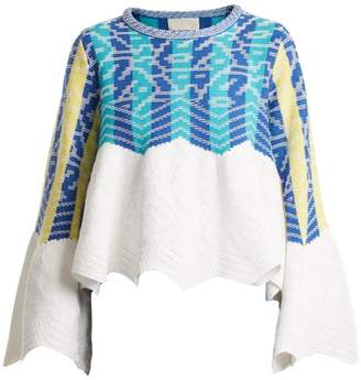 Peter Pilotto Striped Jacquard Cotton Sweater - Womens - Blue Multi