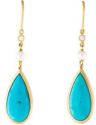 Jamie Wolf 18K Turquoise, Pearl & Diamond Drop Earrings