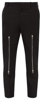 Alexander McQueen Zipped Knee Cotton Micro Twill Trousers - Mens - Black