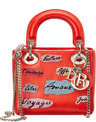 Christian Dior Limited Edition Red Leather Mini Lady