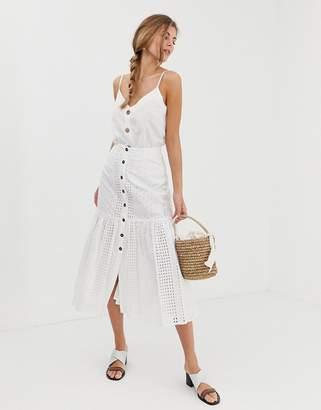 Asos Design DESIGN broderie midi skirt with dropped waist