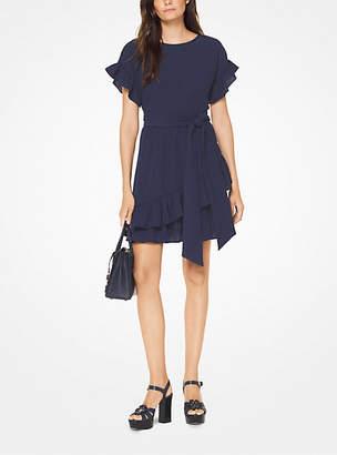 Michael Kors Crinkled Gauze Wrap Dress